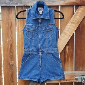 Vintage 90s denim zip up romper small